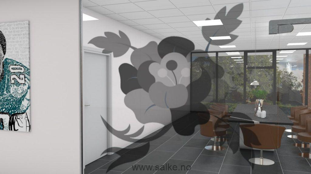 Folie på glass kontor