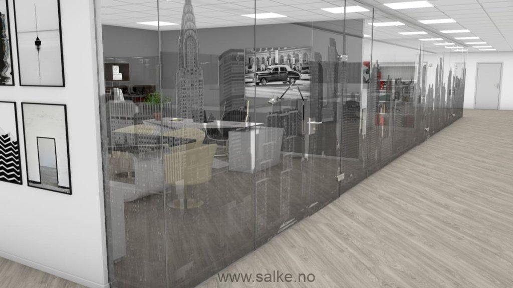 Folie glassvegger kontor