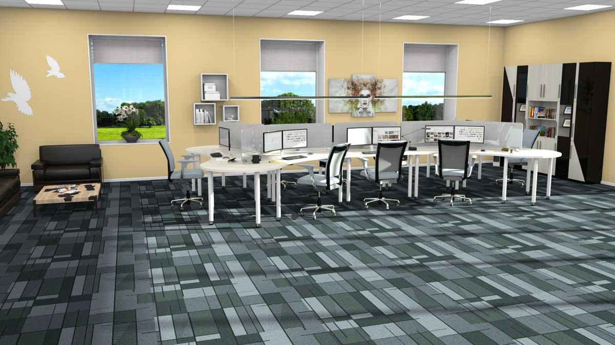 Design vegg-til-vegg tepper kontorlandskap