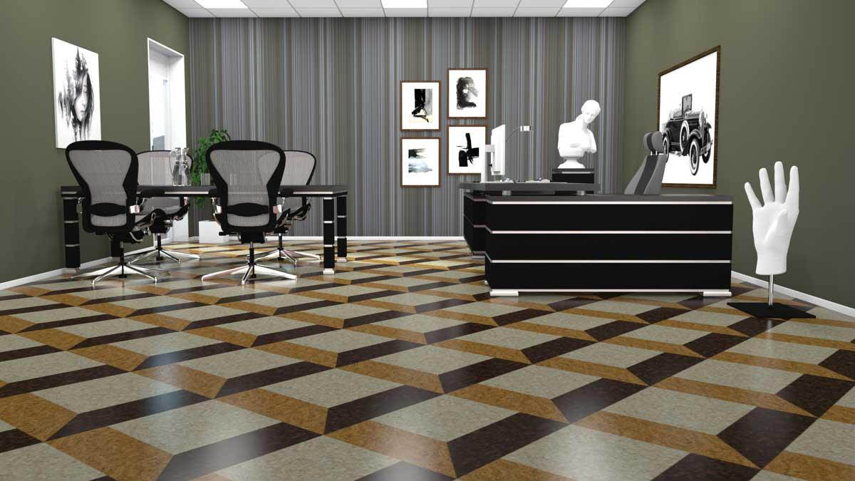 Design korkgulv mønstret
