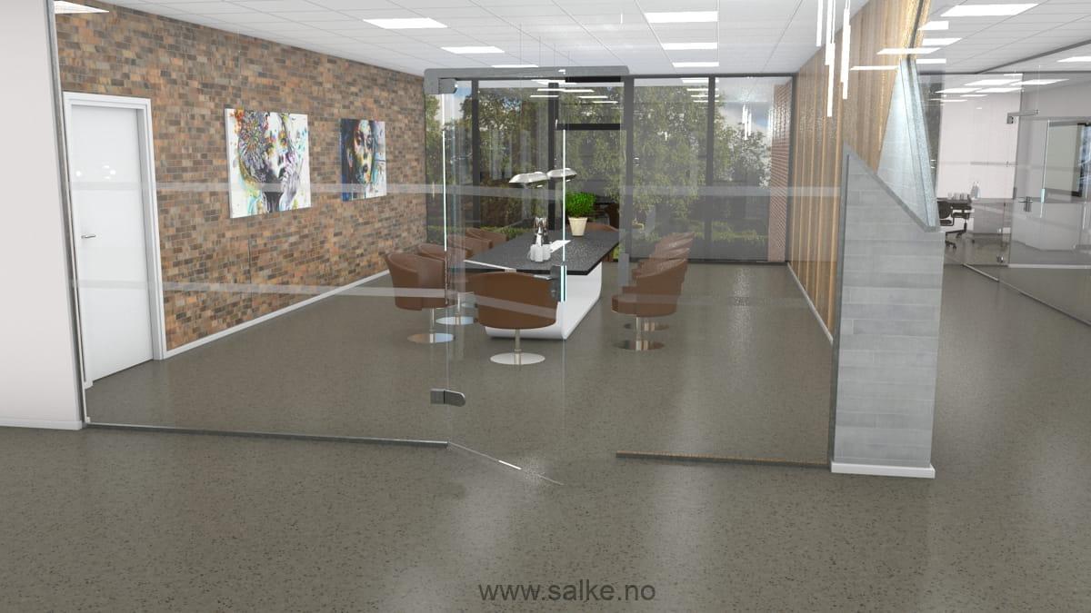 Møterom med brunt slipt betonggulv og lakk