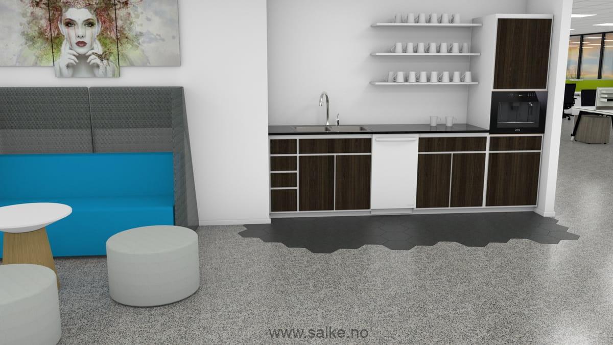 Tekjøkken med gråt slipt betonggulv og lakk