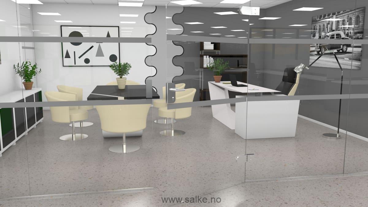 Kontor med lyst slipt betonggulv