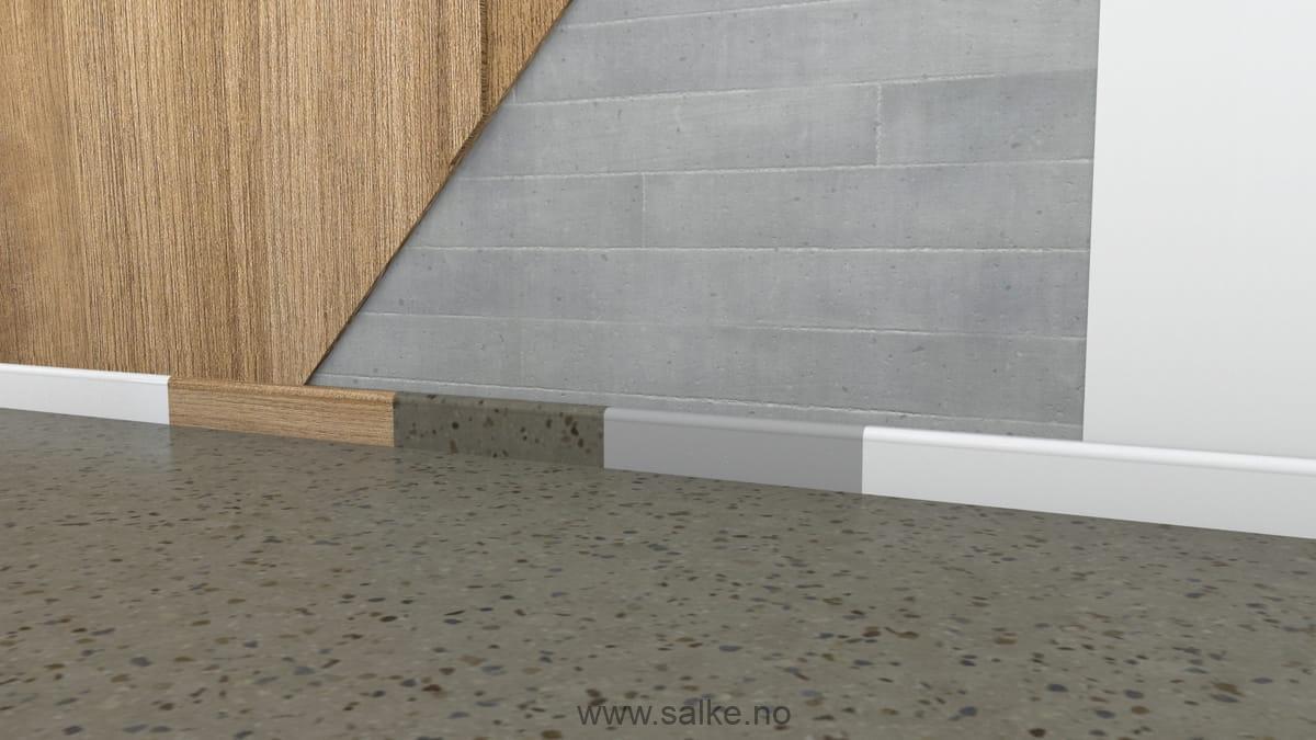 Lister der passer til slipt betonggulv.