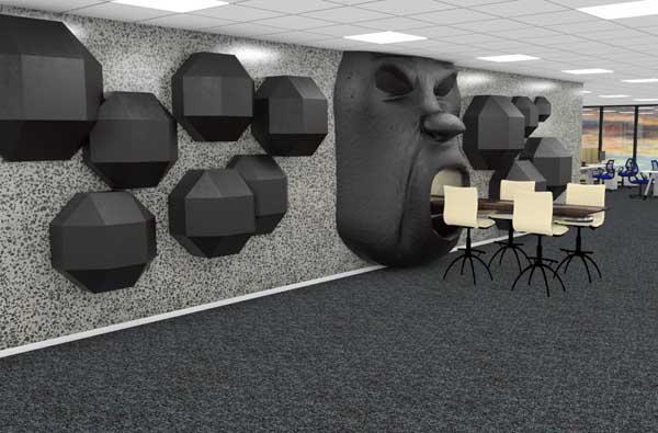 Betongvegg design kontor